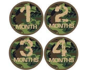 Month Stickers, Baby Milestone Sticker, Baby Boy Gift, Baby's First Year Stickers, Month Stickers Boy Hunting, CamoBaby Shower Gift
