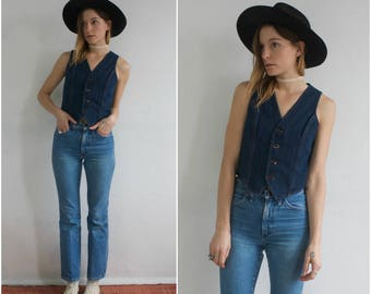 Vintage 70s Denim Fitted Button Up Feminine Slim Fit Waistcoat Western Cowboy Dark Wash Petite Small Jean Vest