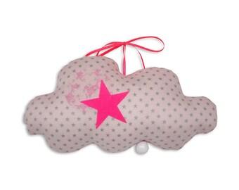 Musical Mobile cloud Edgar lozenge - Neon pink - music box - a star in my cabin