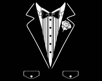 Novelty Tuxedo T-shirt with pockets and rose printed on 100% heavy weight cotton