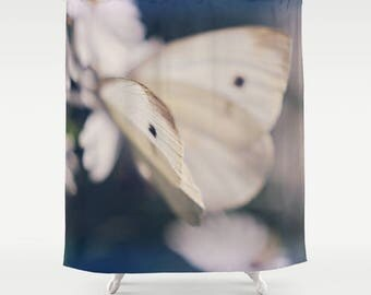Butterfly Shower Curtain, Ethereal Shower Decor, Nature Bathroom Decor, Designer Shower Decor, Printed Shower Curtain, Blue Bathroom