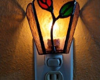 Stained Glass Nightlight with Rosebud,Glass Rose,Home Decor,Gift for Mom,Birthday Gift,Glass Flower,Accent Lighting,Wall Light