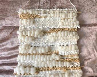 White woven wall hanging | macrame