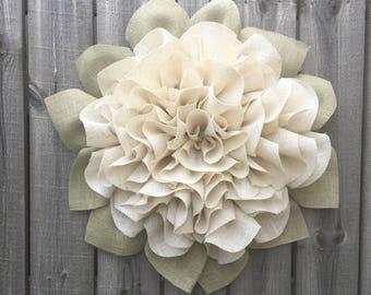 Ivory Burlap Wreath, Marigold, Burlap Wreath, Summer Wreath, Handmade Wreath, Front Door Wreath, Shabby Chic Decor, Front Door Wreath