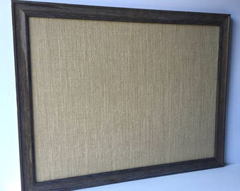 OVERSIZE tan burlap & barn wood magnetic bulletin board, sophisticated rustic decor, office decor, place card display, framed magnet board