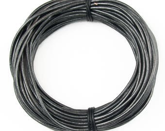 Gunmetal Metallic Gray Round Leather Cord 2mm 50 meters (54 yards)