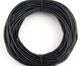 Black Round Leather Cord 2mm 25 meters (27.34 yards)