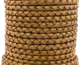 Mustard Natural Dye Genuine Round Bolo Braided Leather Cord 4 mm 1 Yard