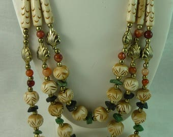 Unique Bone Necklace with Natural Stones