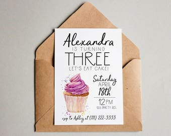 Cupcake Birthday Invitation Cupcake Birthday Invite Cupcake Printable Cupcake Invite Editable Cupcake Invitation Template Birthday Invite