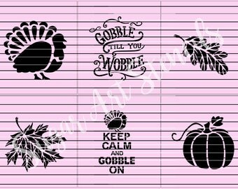 Fall thanksgiving cookie stencils words gobble wobble stencils set of 6  SL20206