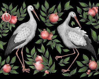 Storks & Pomegranates A4 Print
