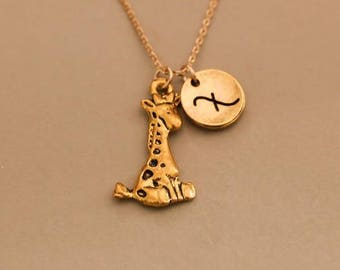 Giraffe necklace pendant , personalized infinity necklace, friendship jewelry, Monogrammed Necklace ,animal necklace , african giraffe