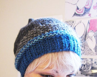 pointed Beanie striped grey and blue wool and acrylic