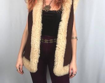 Vintage 1960's Sheepskin Shearling Vest