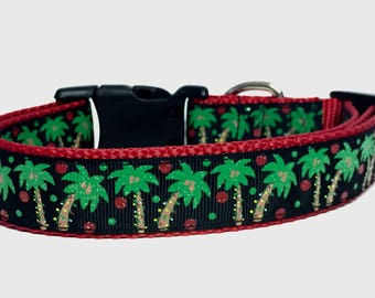 Tropical Christmas  - Dog Collar - Palm Trees - Gift - Winter - Florida - Beach - Vacation - Seasonal - Snowbird