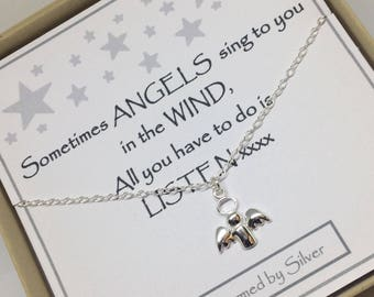 Sterling Silver Angel Charm Necklace - a perfect gift with a perfect message