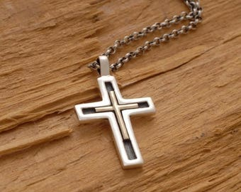 15%OFF-Ships on Sept15 Unique Cross Necklace for Men Women, Silver and Gold Christening Gift Idea, Double Cross Pendant ST599