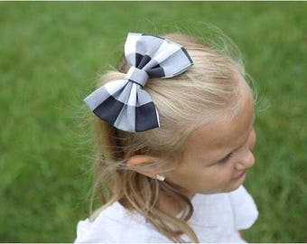 Black and White Plaid Handmade Fabric Hair Clip or Headband Bows