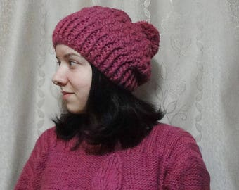 Warm Knitted Hat Handmade Hat with Pompon