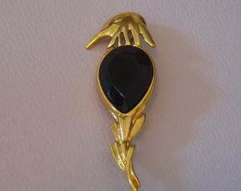 H A Vendome (Coro) Bird Brooch. Black Cab Tropical Bird Brooch.