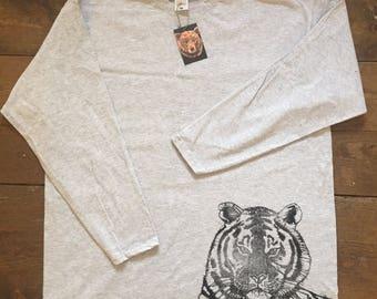 Tiger Block printed Tee on heather grey XXL