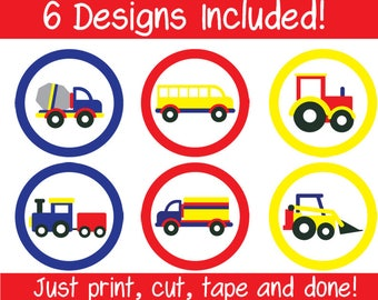 6 Printable Digital Transport Truck Train Cupcake Toppers INSTANT DOWNLOAD Digital File
