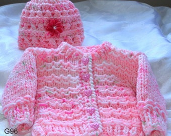 hand knit baby  sweater and tuqu, 3-6 month, baby girls sweater set, original design by kidsknits1