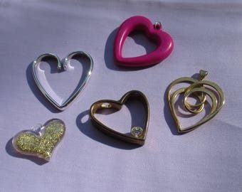Lot Of Salvaged Heart Shaped Pendants