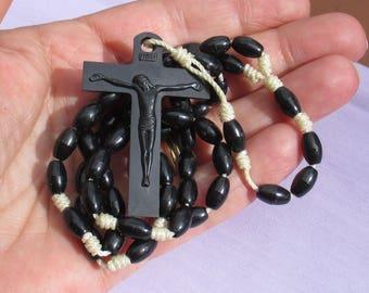 Retro Black Plastic Rosary