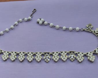 Vintage Coro White Double Flower Linked Necklace Repair Repurpose