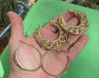 Lot Of Retro Metal Hoop Earrings TLC