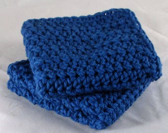 Blue Kitchen Towels, Blue Cotton Spa Set, Blue Cotton Washcloth, Blue Dishcloth, Blue Kitchen Cloth, Blue Washcloth, Blue Spa Cloths