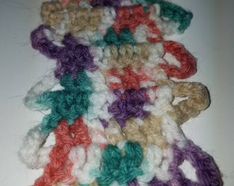 Crocheted scarf acrylic multicolored 60 x 2 inches