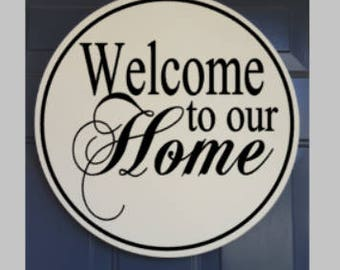 "Custom Welcome Sign - 18"" Round Wooden Sign - Hand Painted"