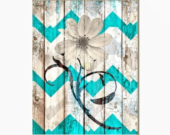 Rustic Teal Wall Art, Off White Teal Decor, Farmhouse Bedroom, Living Room, Bathroom Teal Home Decor Picture