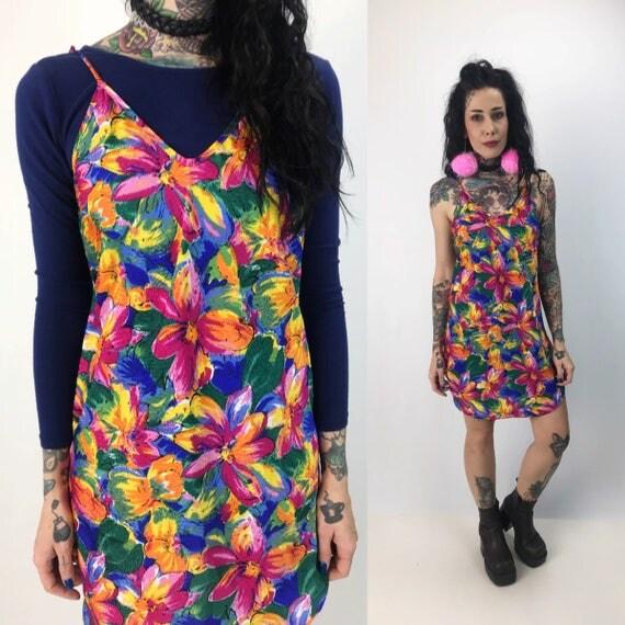 90's Floral Print Slip Dress Medium Lightweight Sundress - Vintage Colorful Lingerie Mini Dress - Neon Spring/Summer Spaghetti Strap Dress