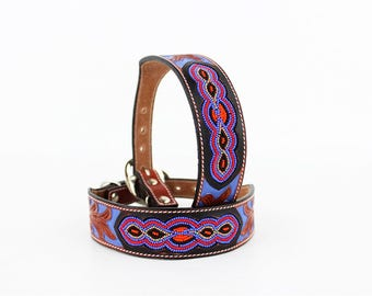 MadcoW Western Style Purple Navajo Style Beaded Canine Leather K9 Dog Collar Hand Made Fully Adjustable