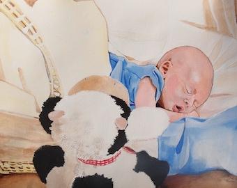 Handpainted custom made baby portrait