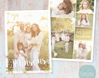 Gold Christmas Card Template - Christmas Photo Card - Photoshop template - AC076 - INSTANT DOWNLOAD