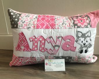 Fox pink and grey, personalized pillow case, 12x18 inches