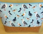Blue Seagull Wash Bag Seaside Theme Zip Pouch Cork Fabric Bag Toiletry Bag Travel Pouch Blue Bird Bag Quality Handmade Bag