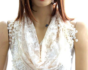 Ivory lace scarf. Summer scarf. Scarf. Scarves. Lace scarf. Women scarf. lace haedband lace scarves summer scarf ivory scarf floral scarves