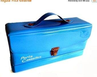 ON SALE Spanish Vintage Plastic Cassette Box, 1970s, Blue Case