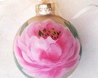 Pink Rose Ornament ~ Shabby Rose Ornament ~ Ready to Ship ~ Handpainted Roses ~ February Gifts