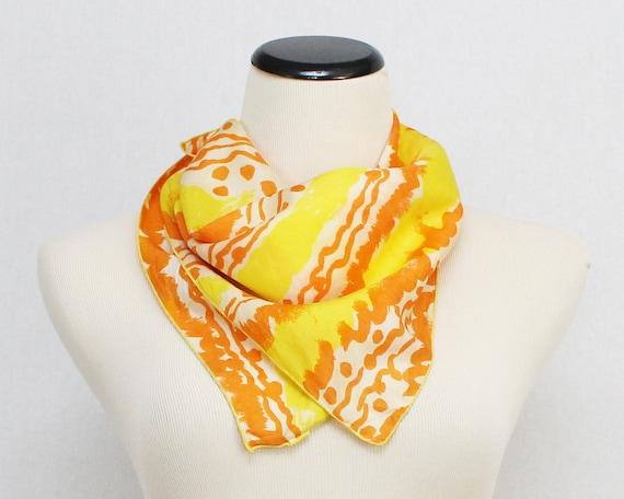Abstract Vera Neumann Silk Scarf - Vintage 1960s Yellow and Orange Rare Unsigned Vera Scarf