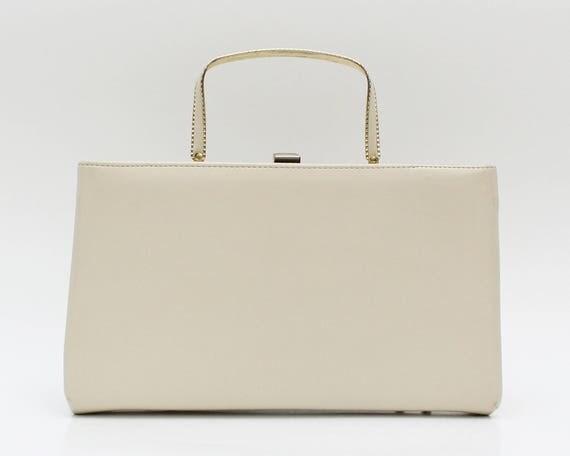 Vintage 1950s Ivory Leatherette Pocketbook Handbag