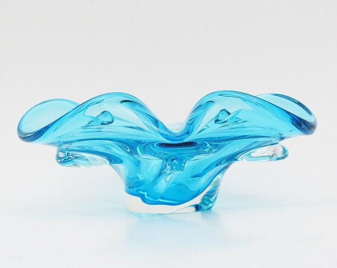 Turquoise Art Glass Bowl - Vintage 1950s Mid Century Modern Hand Blown Glass Dish
