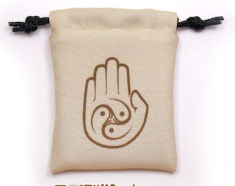 Monk Fantasy RPG Mini Drawstring Dice Pouch, Colour Symbol