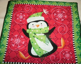 Holiday Pillow, Decorative Sofa Toss Pillow, Penguin Pillow, Holiday Accent Pillow, Christmas Pillow, Home Decor, Holiday Decoration,